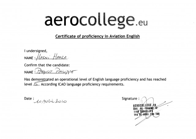 "Haaaaaaaa, le fameux ""Aerocollege Certificate of proficiency in Aviation English"""